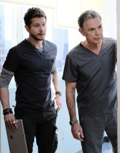 Conrad and Bell Knock - Tall  - The Resident Season 3 Episode 20