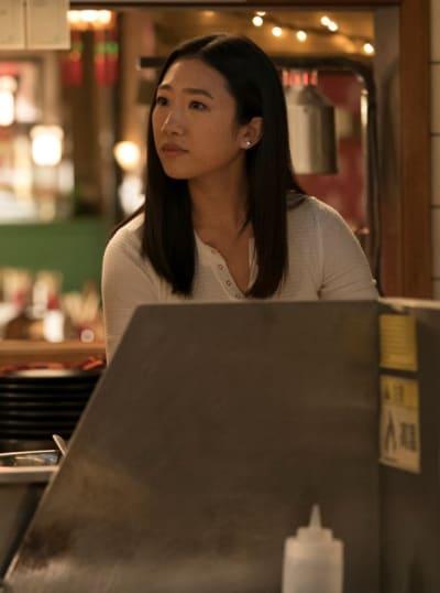 Nicky Shen front of restaurant - Kung Fu Season 1 Episode 4