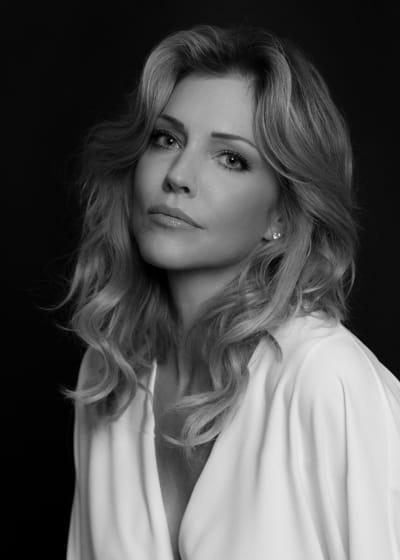 Tricia Helfer B&W in White Close-Up - Lucifer