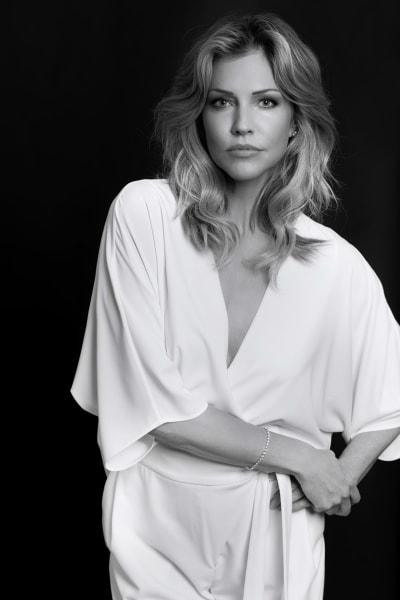 Tricia Helfer B&W in White - Lucifer